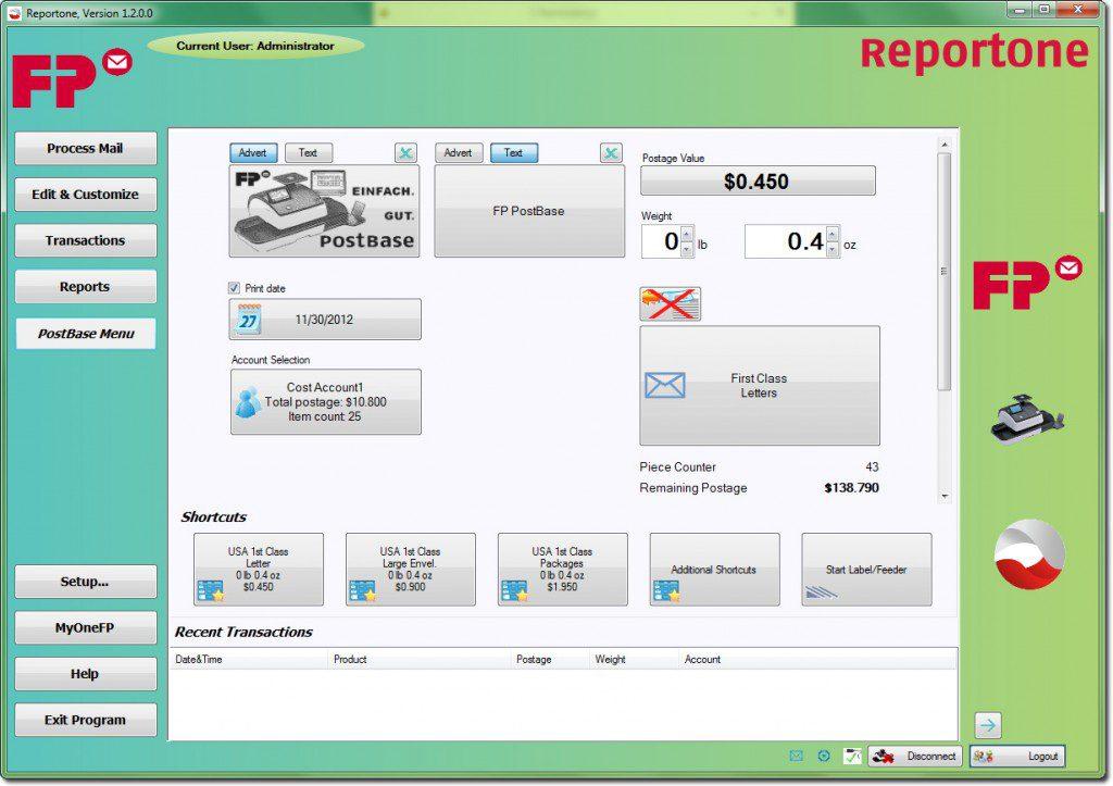 ReportOne – Mail Processing Screen